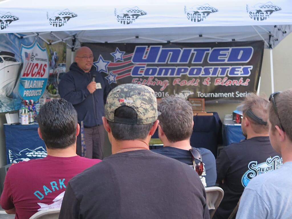 Darin Dohi representing United Composites at the captains briefing held at Savon Tackle in Santa fe Springs.